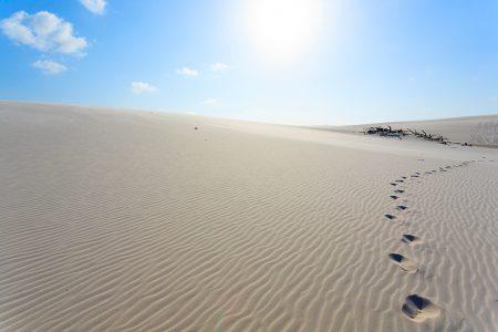 traces de pas dans les dunes, Lençois Maranhenses