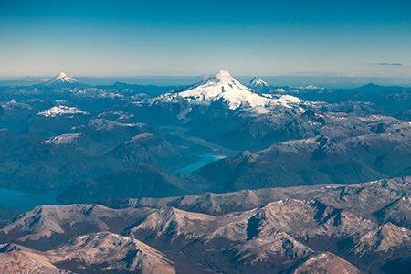 Vue aérienne du mont Tronador
