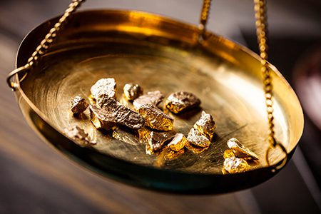 pesée de l'or