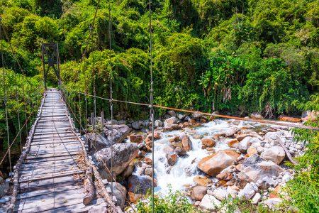 trek du Choro, pont suspendu